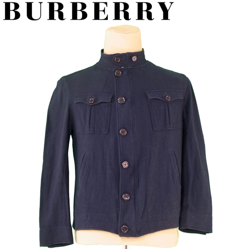 【中古】 バーバリー BURBERRY ジャケット ワークポケット付き メンズ シングルボタン&ジップ ネイビー ブラック ジャケット T7341s .