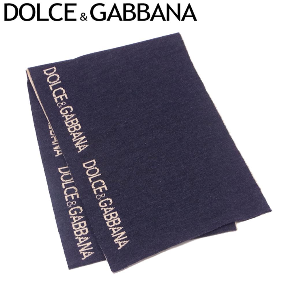 ドルチェ&ガッバーナ DOLCE&GABBANA マフラー レディース メンズ 可 リバーシブル ロゴライン ブラック ベージュ ウール50%アクリル50% 人気 セール 【中古】 T7402 .