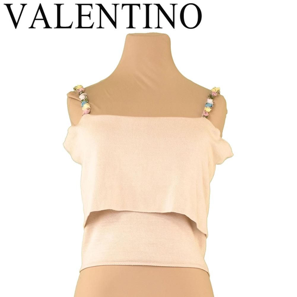 ヴァレンティノ VALENTINO キャミソール フラワーテープ レディース ♯Sサイズ ニット ベージュ系 コットンCO/50%シルクSE/50% 美品 セール 【中古】 T7413