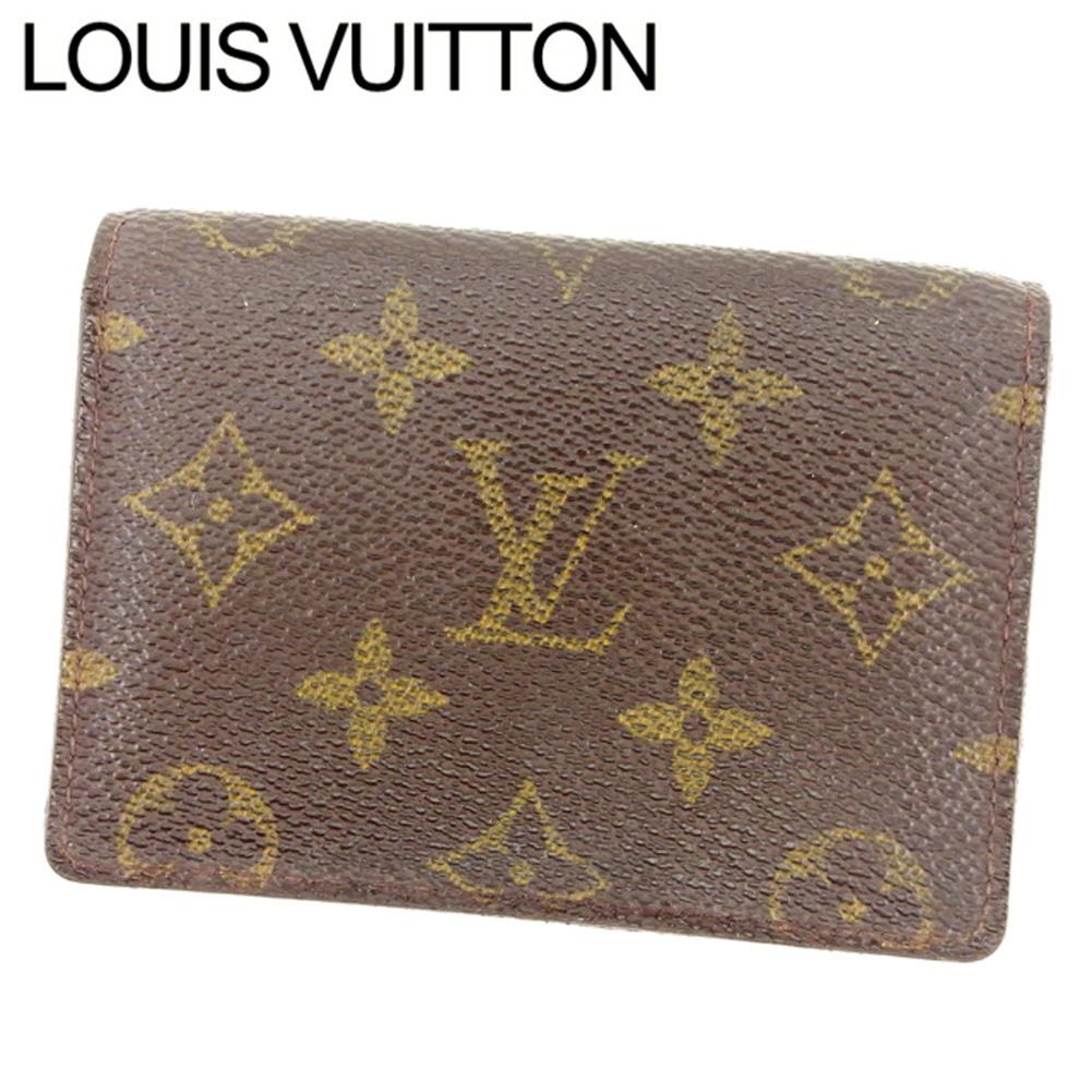 ルイ ヴィトン Louis Vuitton 定期入れ パスケース メンズ可 ポルト2カルトヴェルティカル モノグラム ブラウン ベージュ モノグラムキャンバス 人気 セール 【中古】 T7425 .