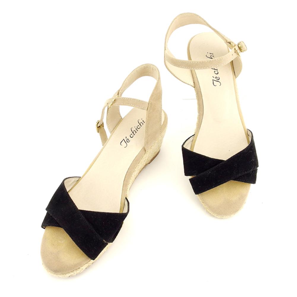 テチチ Te chichi サンダル シューズ 靴 レディース ♯23.5 ウェッジソール クロスデザイン ブラック ベージュ ゴールド 人気 セール 【中古】 T7797 .