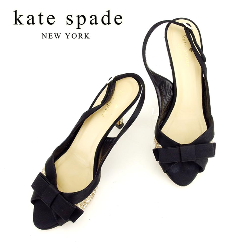 ケイト スペード kate spade サンダル シューズ 靴 レディース ♯7B スパンコール付き リボン ブラック ゴールド サテン×レザー 訳あり セール 【中古】 T7801 .