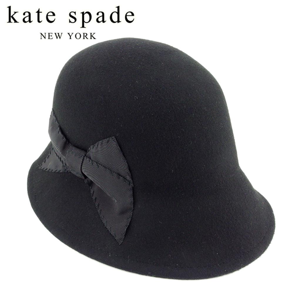 ケイト スペード kate spade 帽子 ハット レディース リボン付き クローシェ帽 ブラック ウール毛100% 美品 セール 【中古】 T7830