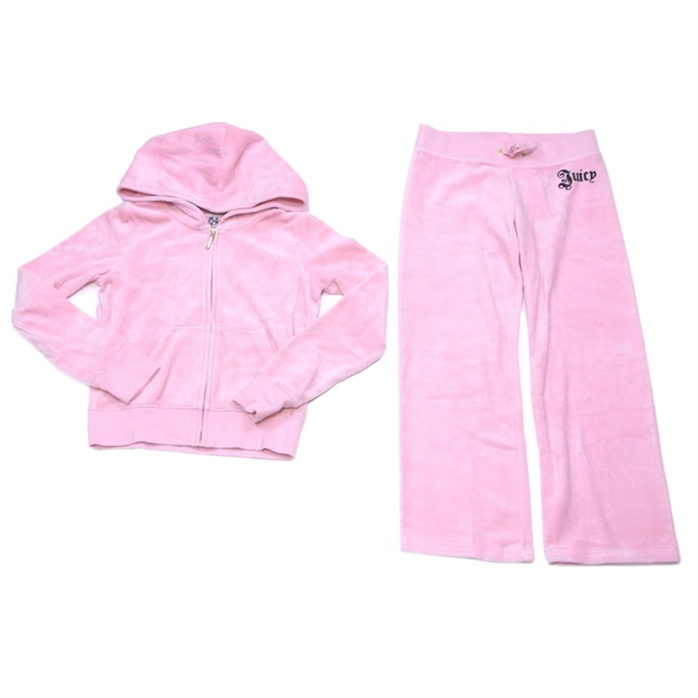 【中古】 ジューシークチュール Juicy Couture セットアップ パーカー パンツ ピンク系 上下セット キッズ ガールズ レディース T7866s .