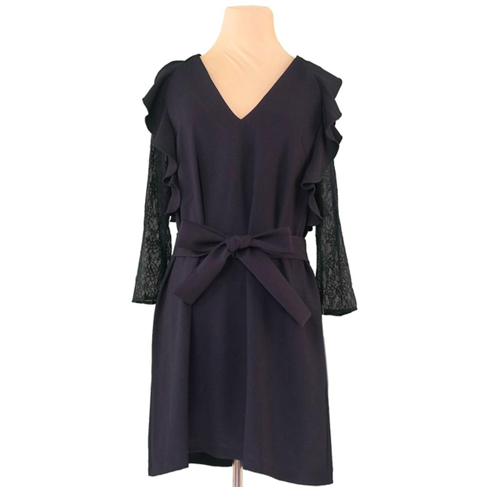 b8ce2974 100% of quite common basic ZARA BASIC dress waist ribbon Lady's ♯ USA small  size ...