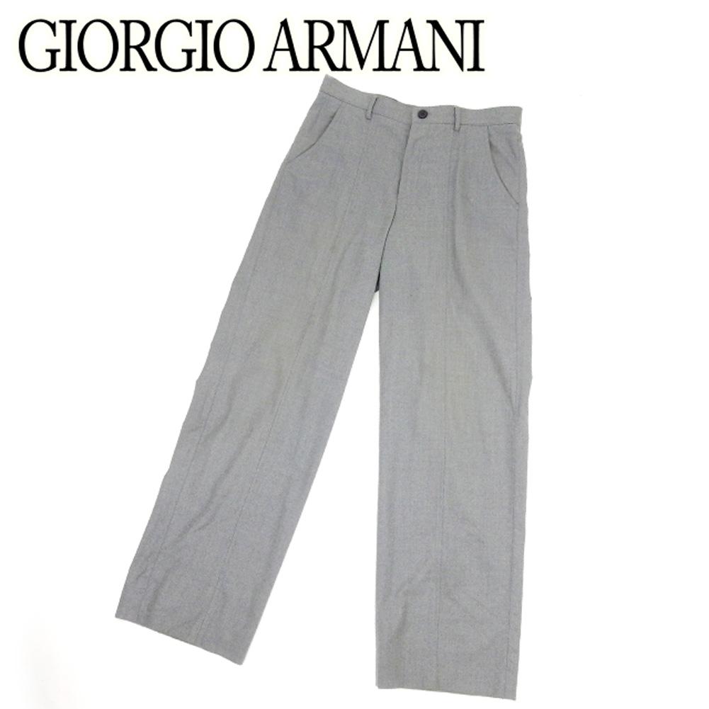 【中古】 ジョルジオ アルマーニ GIORGIO ARMANI パンツ セミワイド メンズ ♯46サイズ グレー 灰色 ブラック ウールWO 95%スパンデックスSPANDEX 5% B971 .