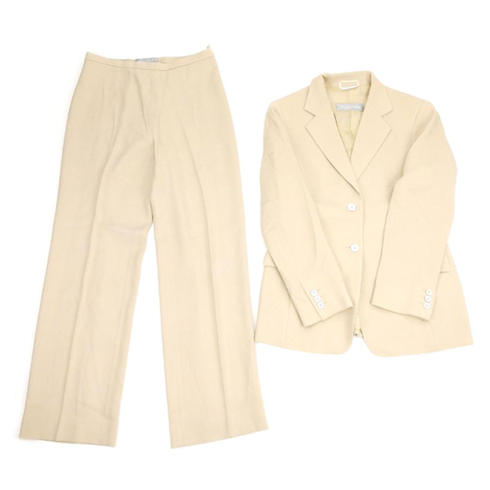 【値引きクーポン】 【中古】 マックスマーラ Max Mara スーツ セットアップ レディース ♯USA6サイズ ジャケット パンツ ベージュ ウールWO 52%ヴィスコースVI 48% B974 .
