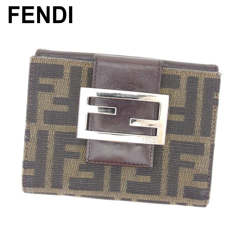 フェンディ FENDI Wホック 財布 二つ折り レディース メンズ 可 ズッカ ブラウン ベージュ ブラック シルバー キャンバス×レザー 人気 セール 【中古】 C3132