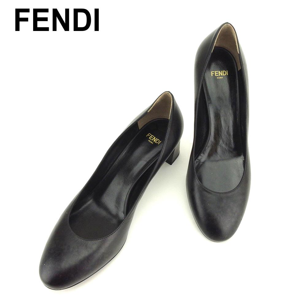 フェンディ FENDI パンプス シューズ 靴 レディース ♯37 ラウンドトゥ ブラック レザー 美品 セール 【中古】 C3148 .