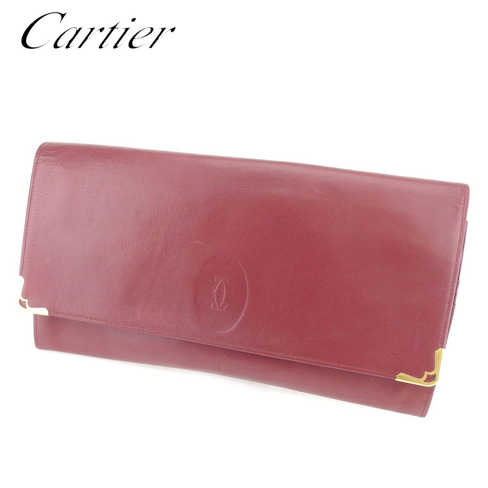 カルティエ Cartier クラッチバッグ セカンドバッグ レディース メンズ 可 マストライン ボルドー レザー 人気 セール 【中古】 C3165