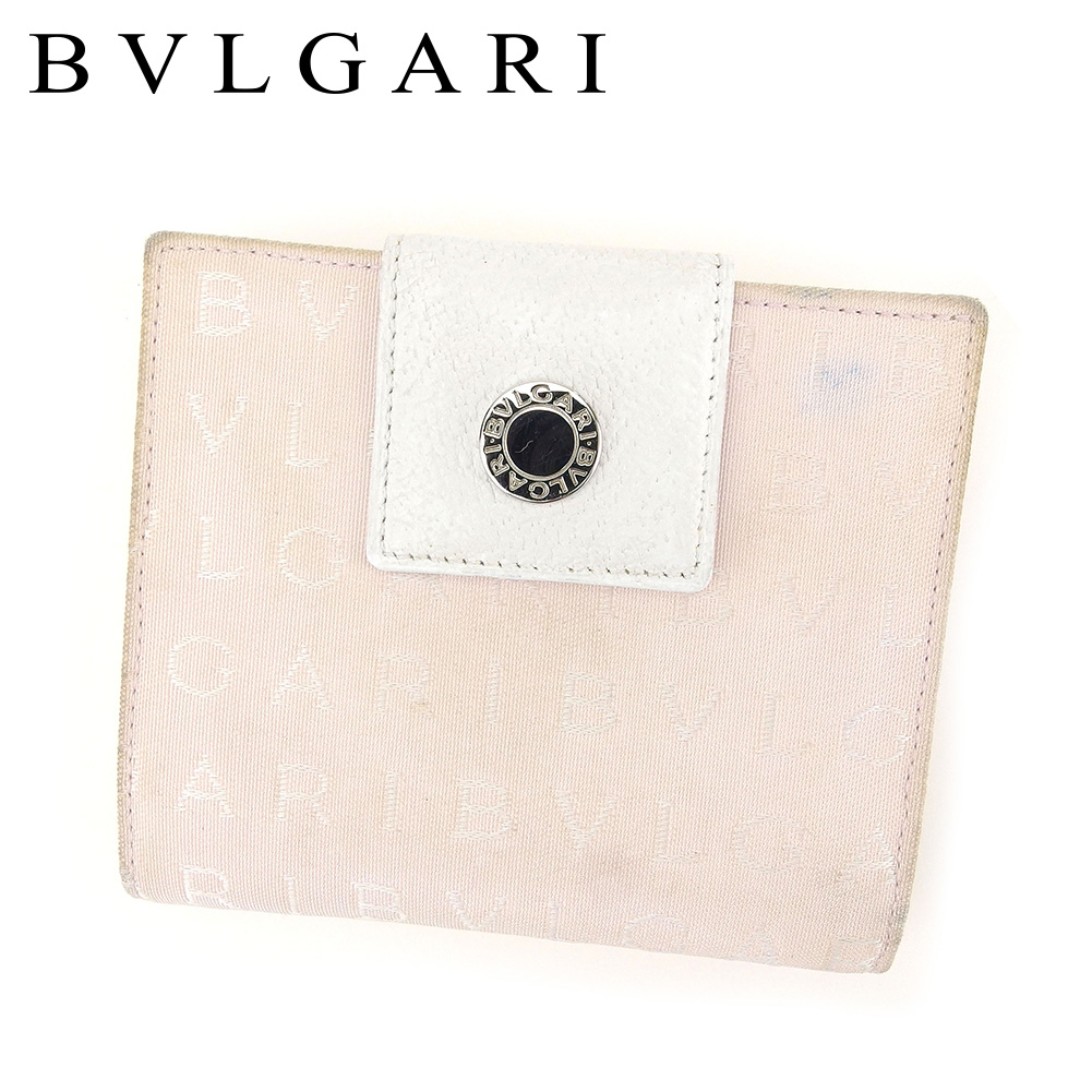 ブルガリ BVLGARI Wホック 財布 二つ折り 財布 メンズ可 ロゴマニア ホワイト 白 ピンク キャンバス×レザー 人気 セール 【中古】 C3171