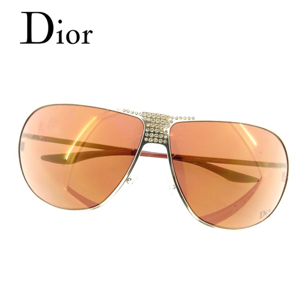 ディオール Dior サングラス メガネ アイウェア レディース メンズ 可 ラインストーン付き ティアドロップ ブラウン ゴールド プラスチック×ゴールド金具 人気 良品 【中古】 C3176