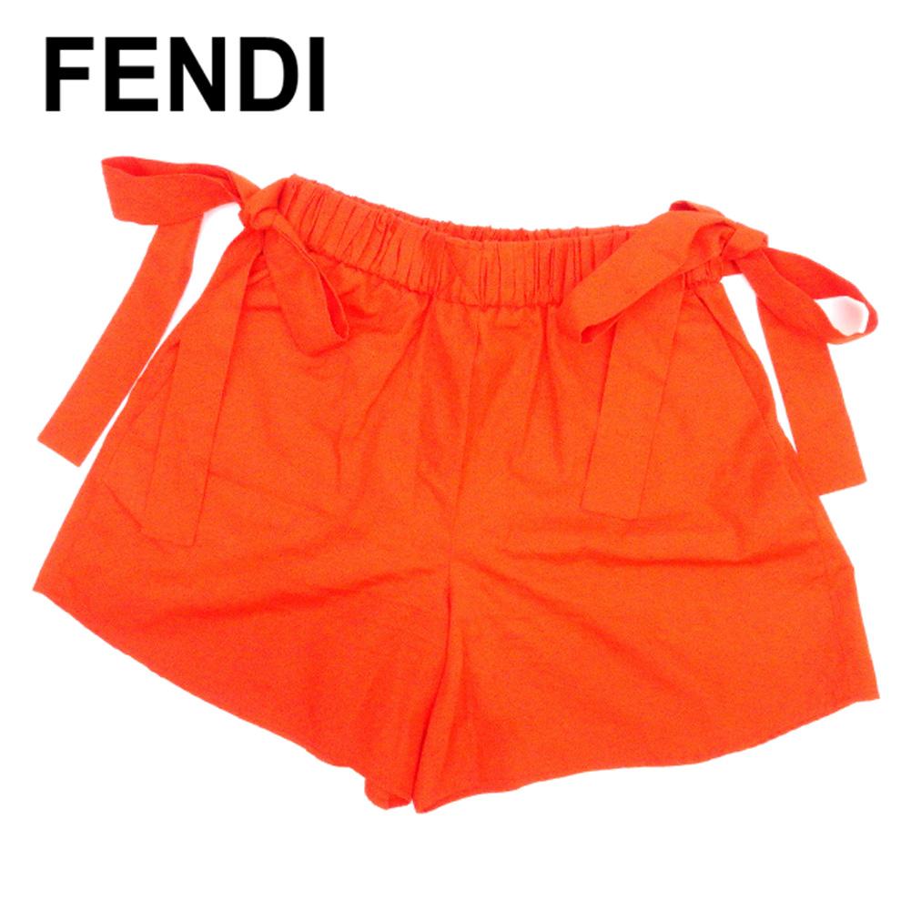 フェンディ FENDI パンツ ウエストリボン レディース ♯38サイズ ショート オレンジ コットンCotton/100% 人気 良品 【中古】 C3242