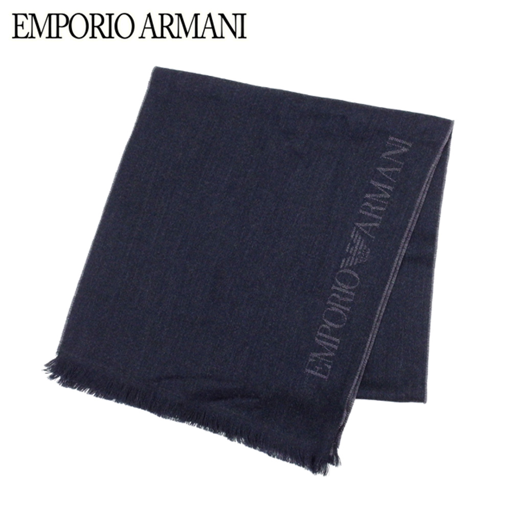 エンポリオ アルマーニ EMPORIO ARMANI マフラー フリンジ付き レディース メンズ  ロゴライン ブラック グレー 灰色 ウール羊毛100% 超美品 セール 【中古】 C3302