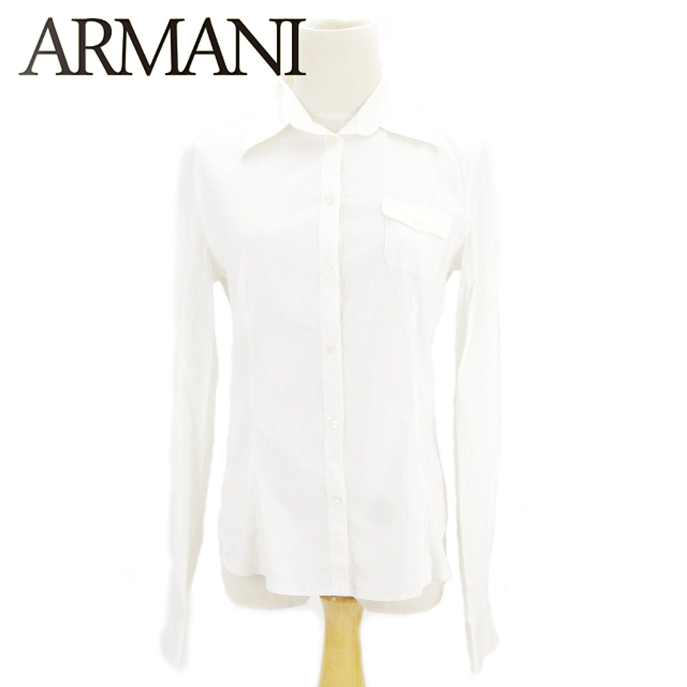 【中古】 アルマーニ コレツィオーニ ARMANI COLLEZIONI シャツ 長袖 レディース ♯42サイズ ホワイト 白 ベージュ ヴィスコースVI 83%ポリアミドPA 14%エラスタンEA 3% C3308 .