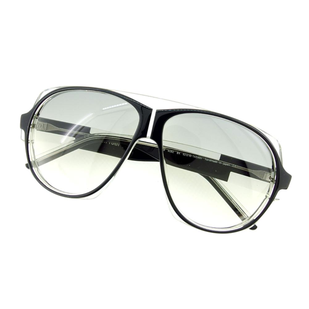 【中古】 クリスチャン ロス Christian Roth サングラス メガネ アイウェア レディース メンズ 可 ティアドロップ ブラック グレー 灰色 プラスチック×シルバー金具サングラス D1812s