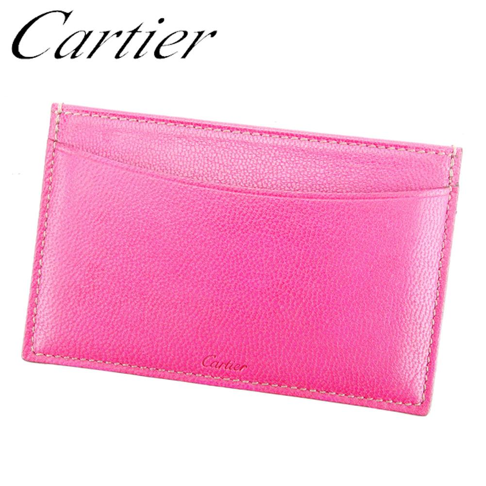 カルティエ Cartier カードケース パスケース レディース ロゴ ピンク レザー 美品 セール 【中古】 D1827 .