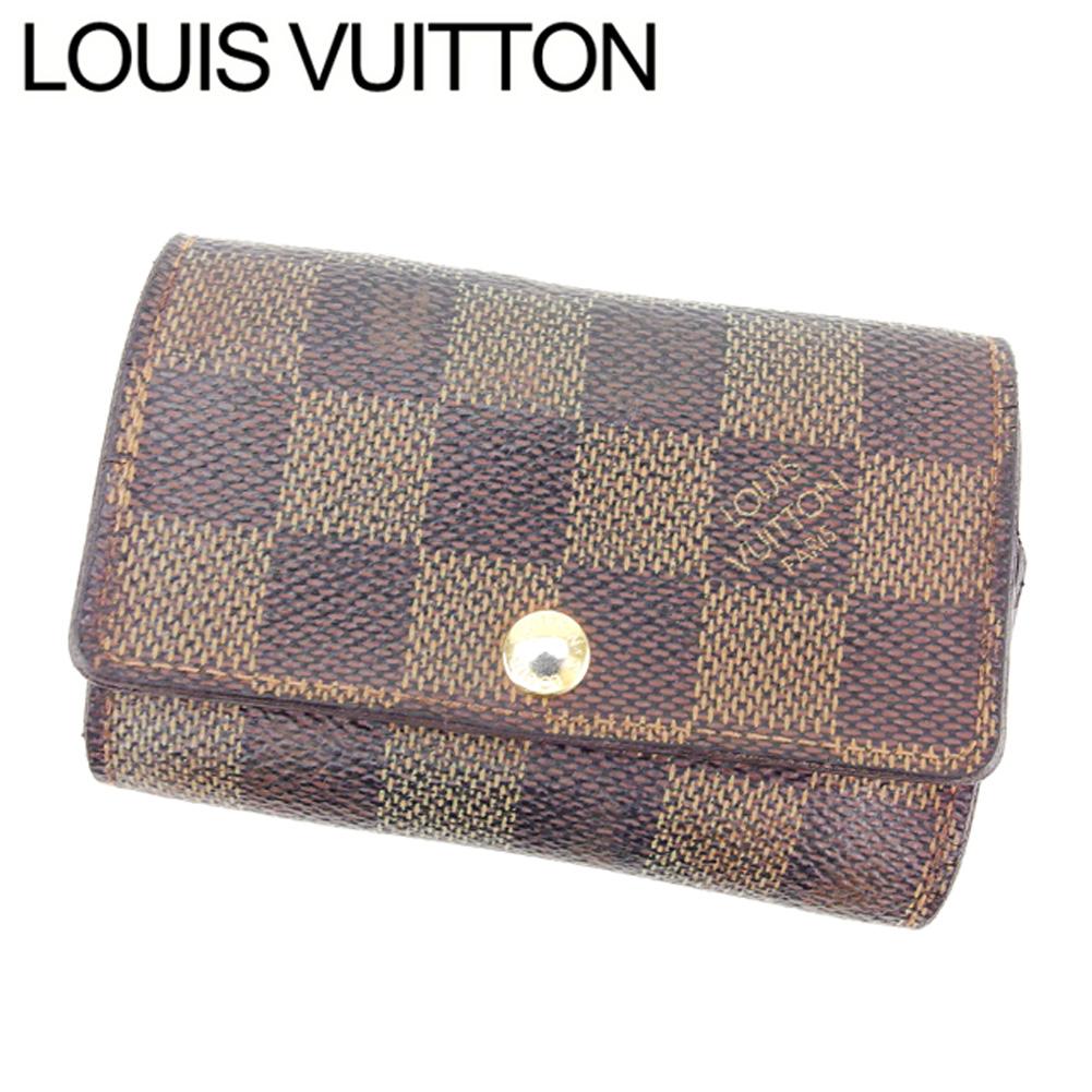 【中古】 ルイ ヴィトン Louis Vuitton キーケース 6連キーケース メンズ可 ミュルティクレ6 ブラウン ベージュ ゴールド ダミエキャンバス D1839