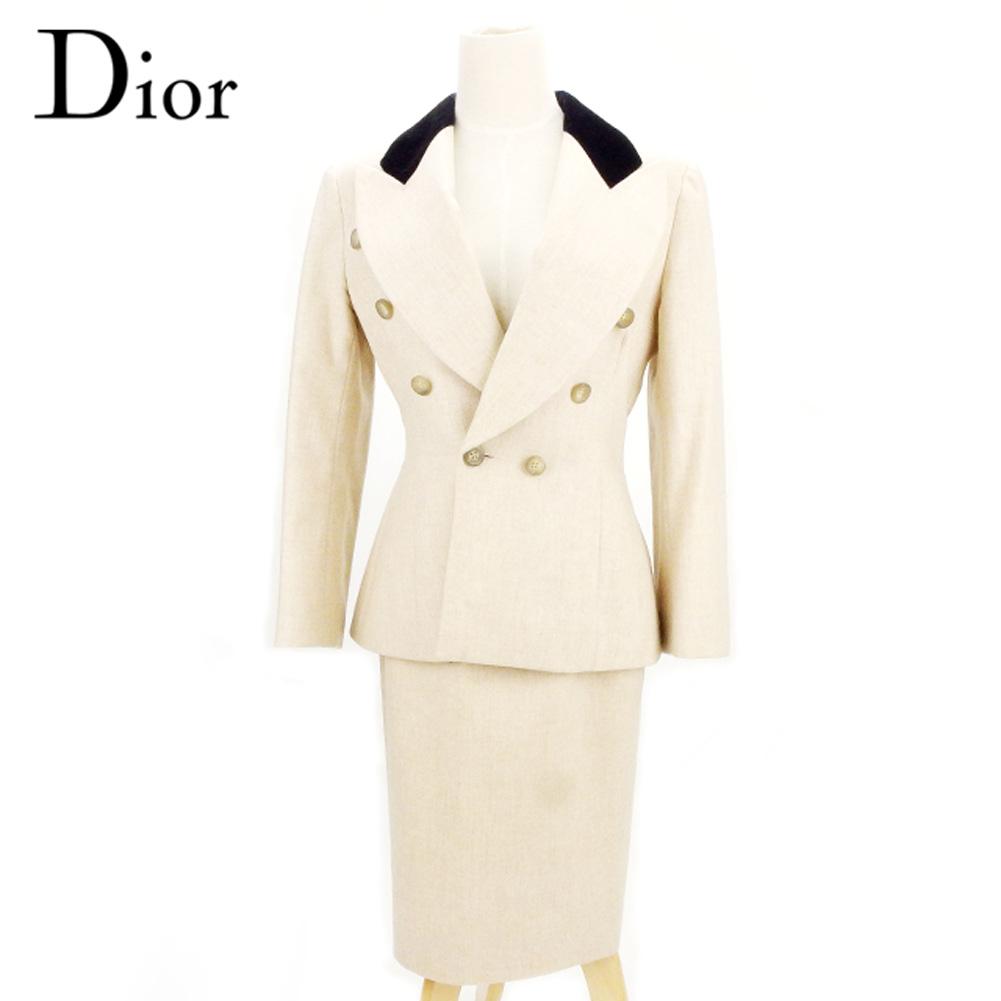 ディオール Dior スーツ セットアップ レディース ♯36サイズ ジャケット スカート ダブル ベージュ ブラック 毛100%(上衿部分)レーヨン83%綿17%(裏地)アセテート60%キュプラ40% 人気 セール 【中古】 D1914