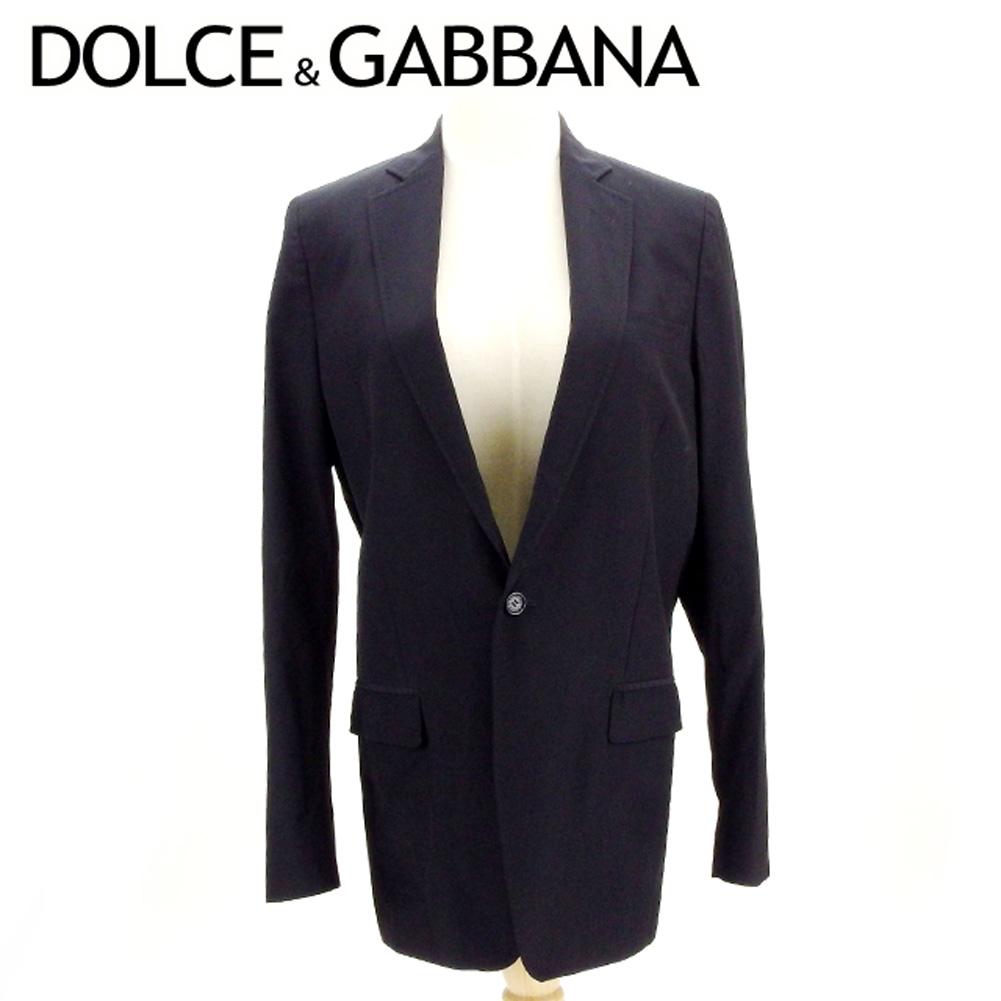 【中古】 ドルチェ&ガッバーナ DOLCE&GABBANA ジャケット 1つボタン メンズ ♯44サイズ ドルガバ ブラック ウールWO 80%ナイロンNY 20% 裏地付き D1916 .