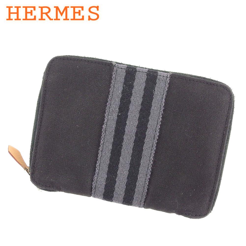 エルメス HERMES 二つ折り 財布 ラウンドファスナー レディース メンズ 可 パースPM フールトゥ ブラック グレー 灰色 コットンキャンバス 人気 セール 【中古】 H579