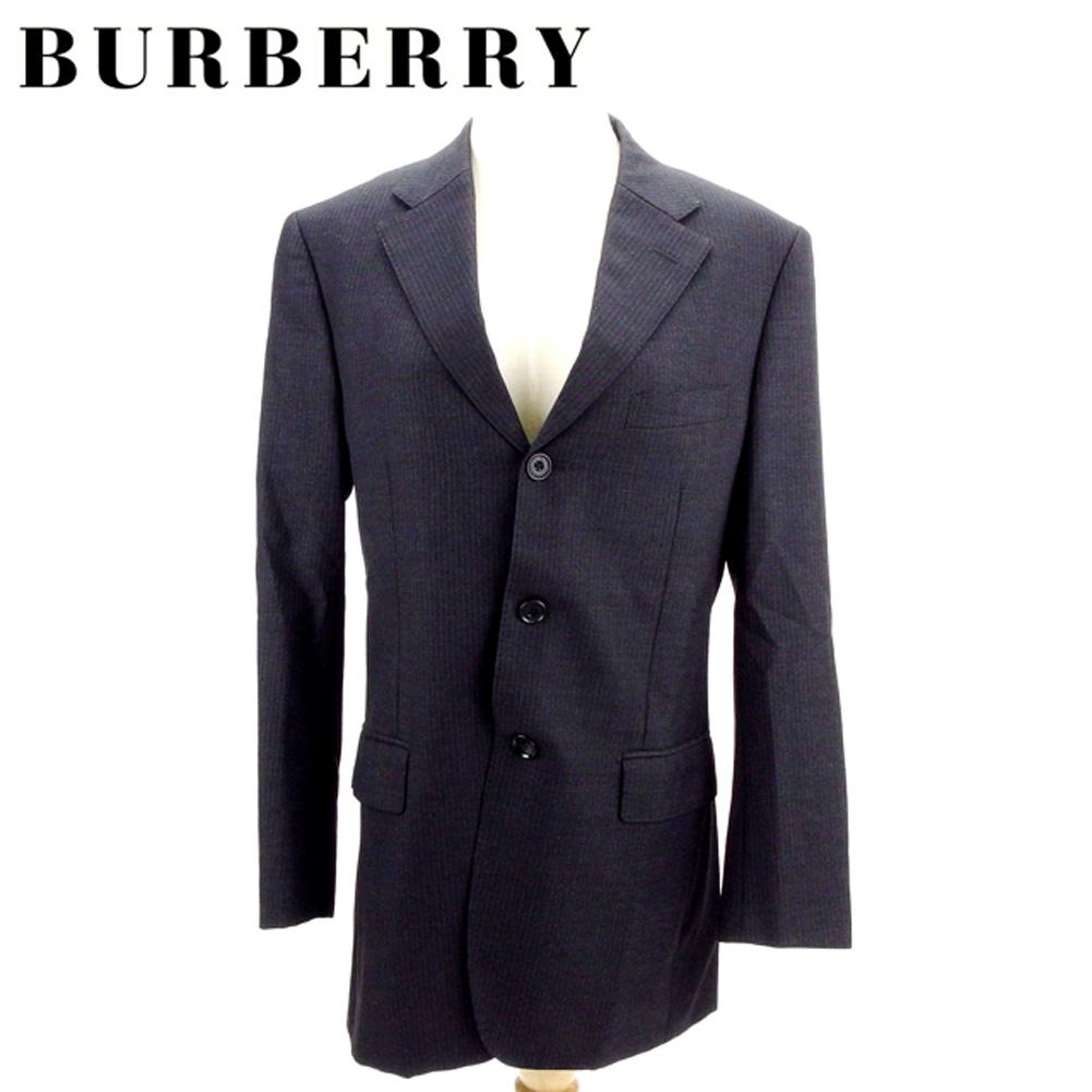 【中古】 バーバリー ブラックレーベル BURBERRY BLACK LABEL ジャケット 3つボタン メンズ テーラード ブラック パープル 羊毛100%(胴裏)キュプラ・ポリエステル(袖裏)キュプラ I504 .