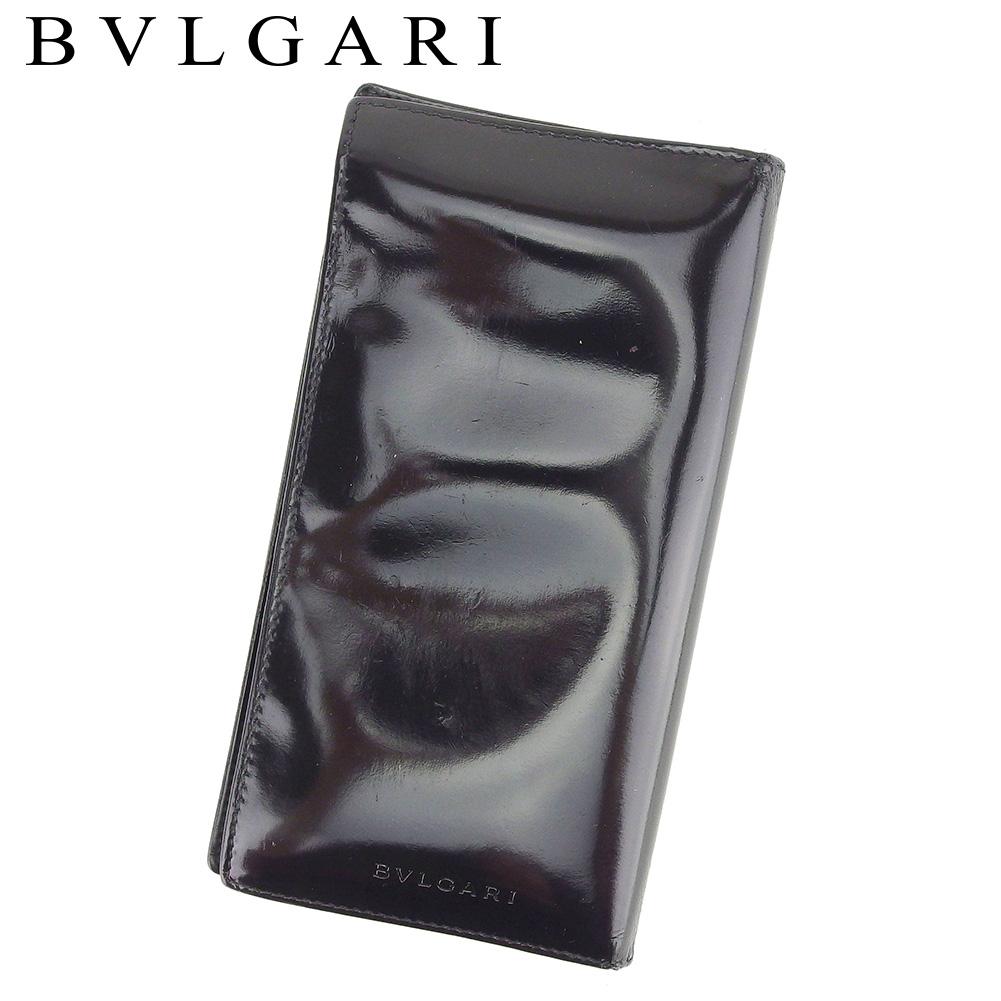 【中古】 ブルガリ BVLGARI 長札入れ 札入れ メンズ ブラック レザー T7433 .
