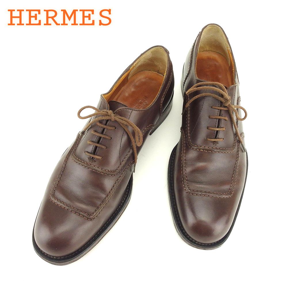 エルメス HERMES シューズ 靴 メンズ ♯39 オックスフォード ブラウン レザー 人気 良品 【中古】 T7434