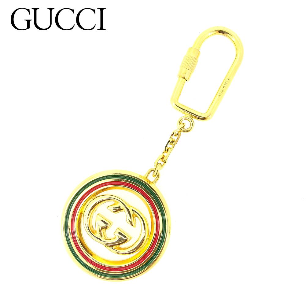 【中古】 グッチ Gucci キーホルダー キーリング チャーム ゴールド グリーン レッド インターロッキングG ダブルG レディース メンズ 可 T7435s .