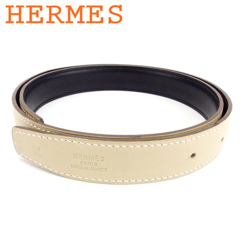 エルメス HERMES ベルト ♯70サイズ レディース メンズ 可 リバーシブル ベージュ ブラック レザー 美品 セール 【中古】 T7478 .