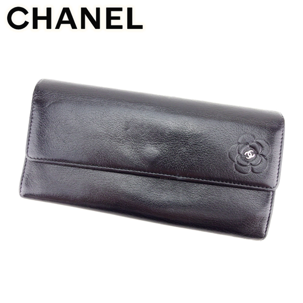 3b198bada904 ... バッグ   ブランド財布   ピアス   シャネル Chanel 長財布 財布 ファスナー付き 財布 財布 ブラック シルバー ココマーク  カメリア レディース T7488s