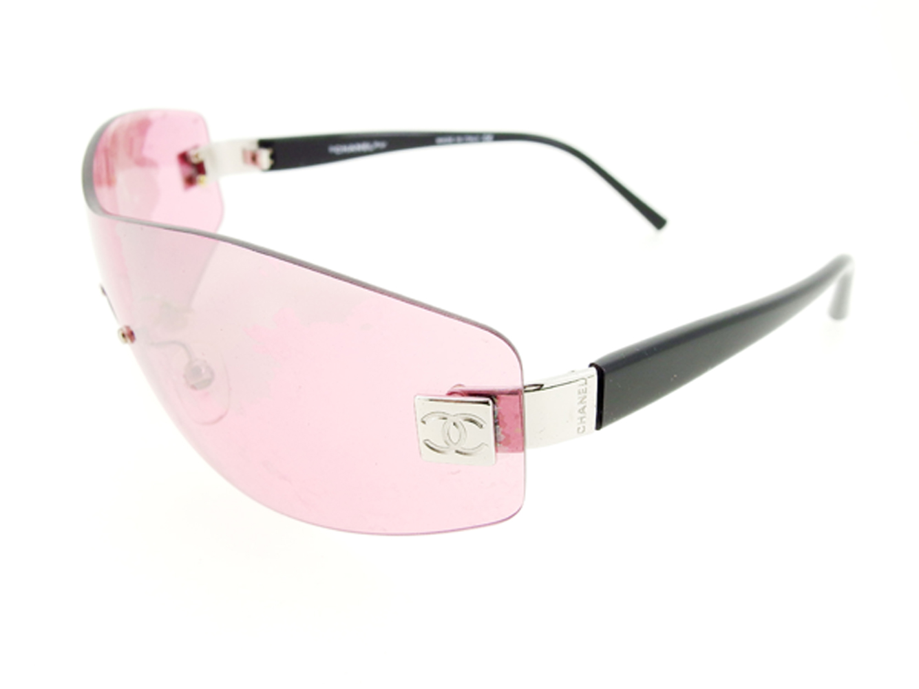 31bf00fa800 Sale T7490 which there is Chanel CHANEL sunglasses glasses eyewear Lady s  here mark one-length pink black silver plastic X silver metal fittings  reason in