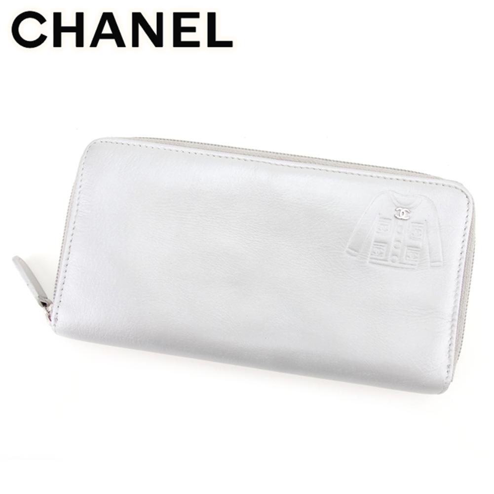 【中古】 シャネル 長財布 さいふ ラウンドファスナー 財布 さいふ ココマーク ジャケットモチーフ シルバー レザー CHANEL T7497
