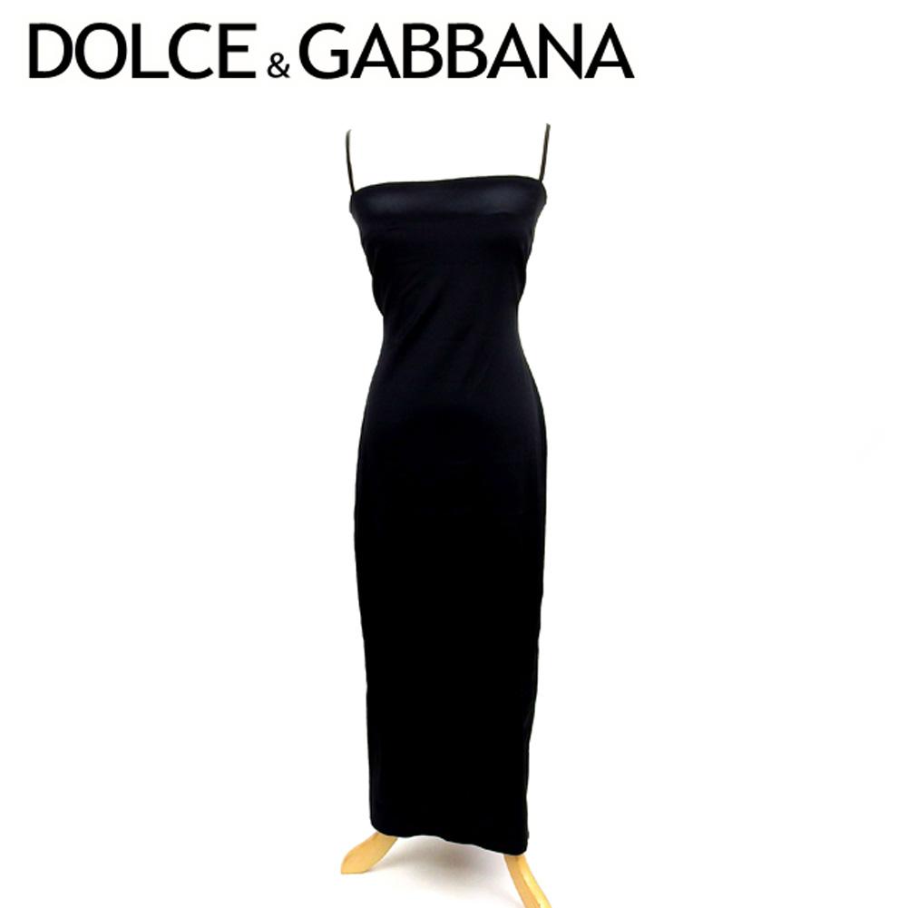 ドルチェ&ガッバーナ DOLCE&GABBANA ワンピース ドレス ロング レディース ♯42サイズ ドルガバ キャミワンピ ブラック アセテートAC/80%ナイロンNY/13%エラスタンEA/7% 美品 セール 【中古】 T7529