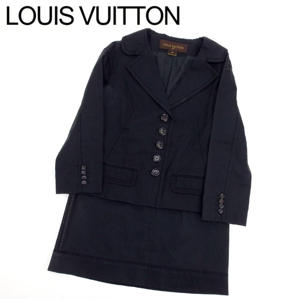 ルイ ヴィトン Louis Vuitton スーツ セットアップ レディース ジャケット スカート テーラード ブラック コットン95%ポリウレタン5%(裏地)シルク100% 人気 セール 【中古】 T7769