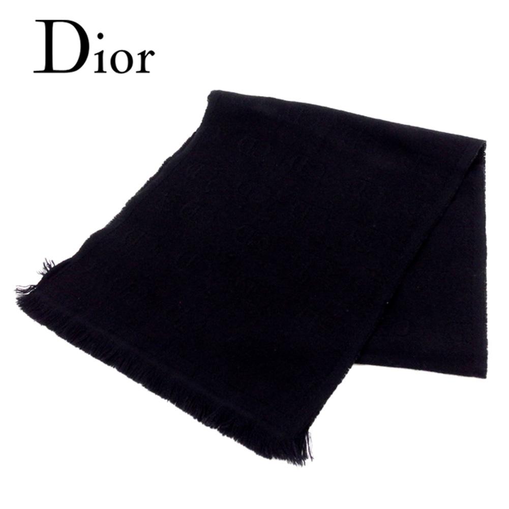 【中古】 ディオール オム Dior Homme マフラー フリンジ付き メンズ ブラック ウール100% T8007