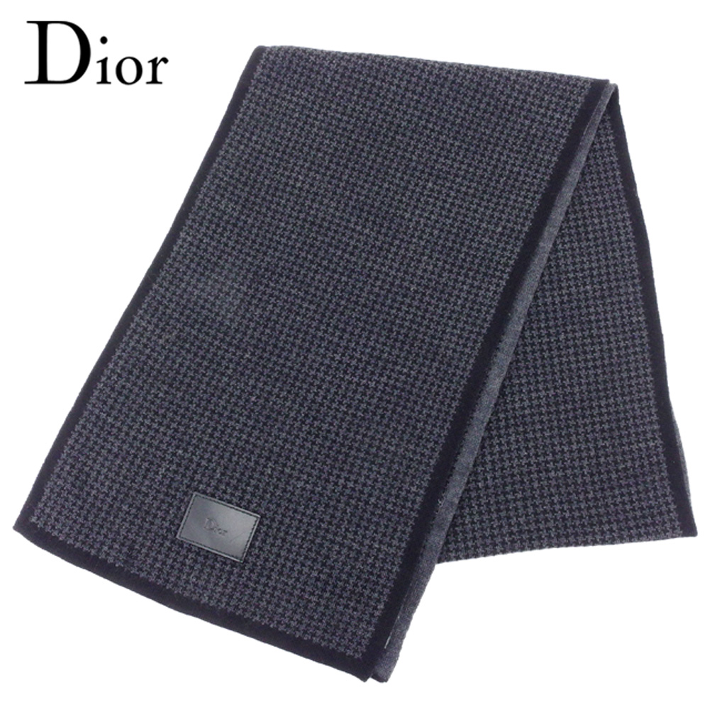 ディオール オム Dior Homme マフラー メンズ 千鳥柄 ブラック グレー 灰色 ウール100% 人気 セール 【中古】 T8147 .