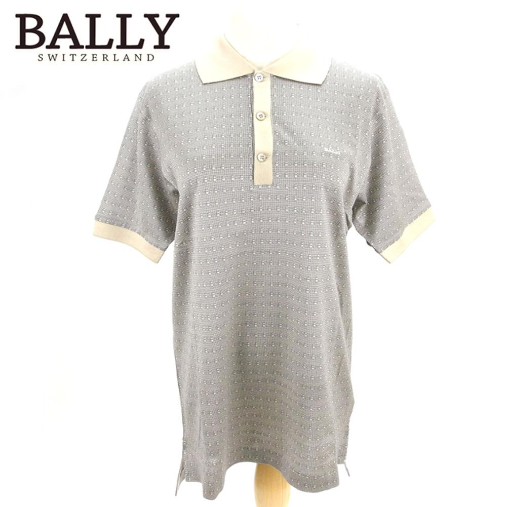 バリー BALLY ポロシャツ 半袖 メンズ ♯USA38サイズ ロゴ刺繍 B柄 ベージュ ネイビー コットン綿100% 未使用品 セール 【中古】 T8185 .