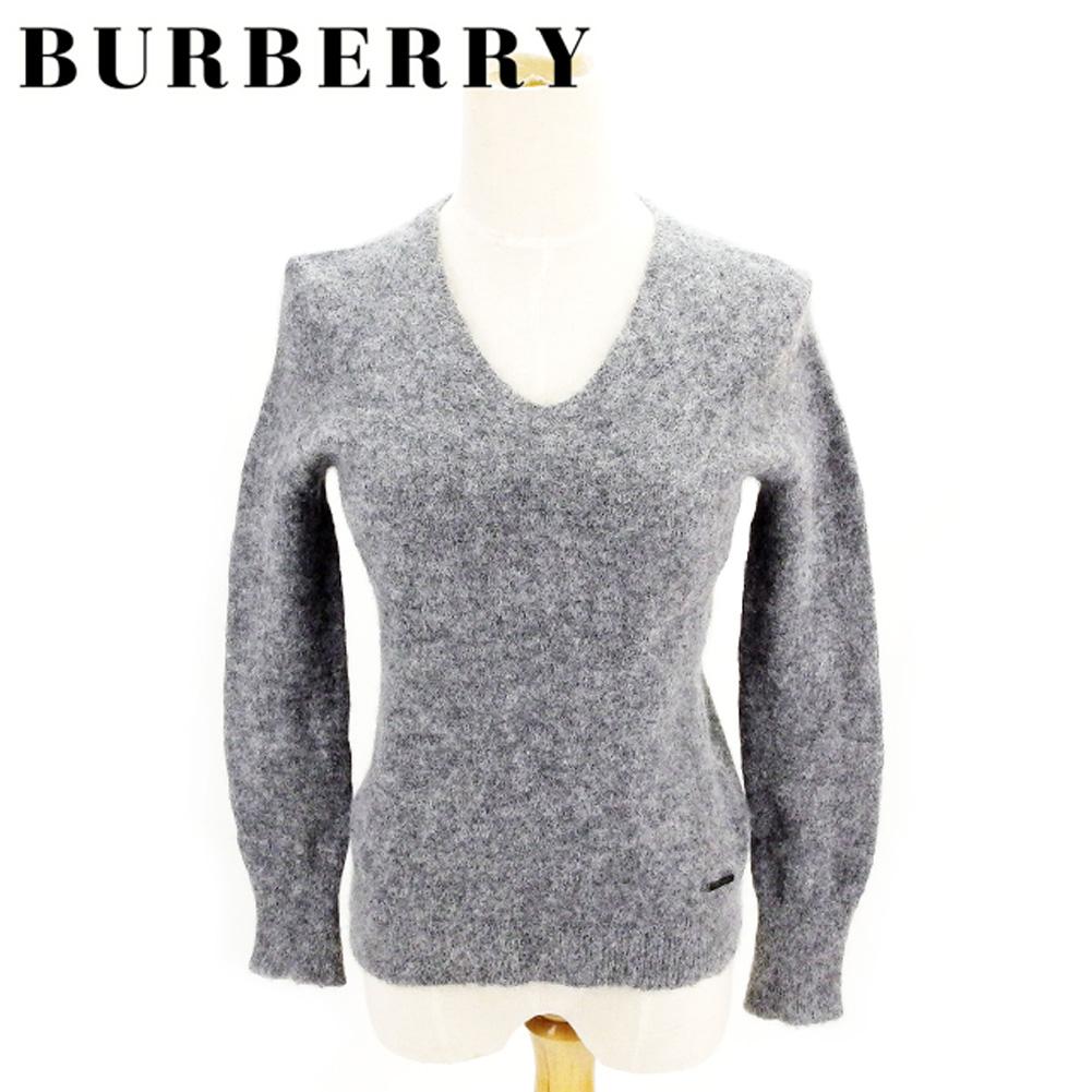 【値引きクーポン】 【中古】 バーバリー BURBERRY ニット 長袖 セーター レディース ♯2サイズ グレー 灰色 アルパカ58%ナイロン27%羊毛15% T8202 .
