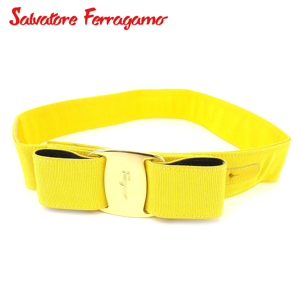 【中古】 サルヴァトーレ フェラガモ Salvatore Ferragamo ベルト レディース ヴァラリボン イエロー ナイロン 人気 セール C3217