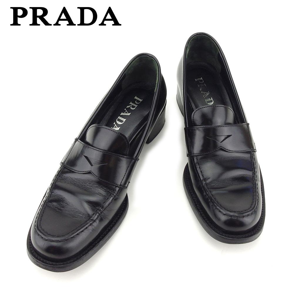60161304140a 【中古】 プラダ PRADA ローファー シューズ 靴 レディース #37ハーフ ブラック レザー 人気 セール
