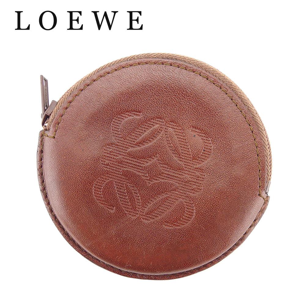 【中古】 ロエベ LOEWE コインケース 小銭入れ レディース メンズ 可 アナグラム ブラウン グリーン スエード×レザー 人気 セール C3223