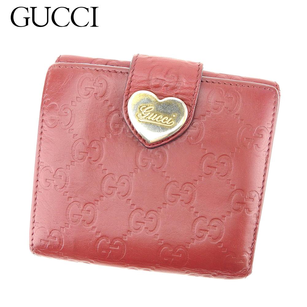 【中古】 グッチ Gucci Wホック財布 二つ折り 財布 レディース グッチシマ ボルドー レザー 人気 セール C3224