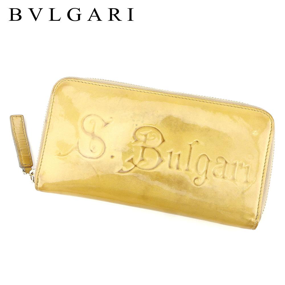 【中古】 ブルガリ BVLGARI 長財布 ラウンドファスナー レディース メンズ 可 ソリティオ ベージュ エナメルレザー 人気 セール C3225