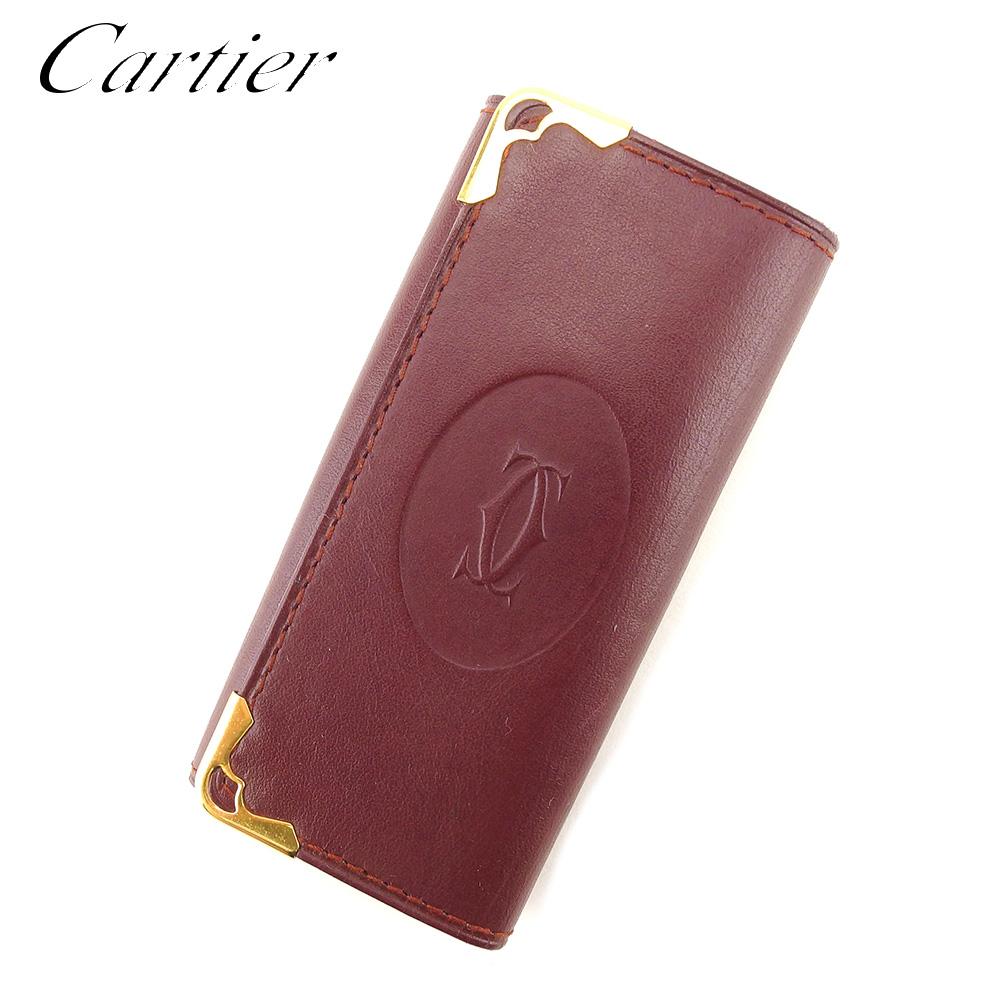 【中古】 カルティエ C3230 Cartier キーケース キーケース 4連キーケース レディース メンズ 可 可 マストライン ボルドー レザー 人気 セール C3230, ペイントアシスト:8cb47c10 --- tandlakarematspetersson.se