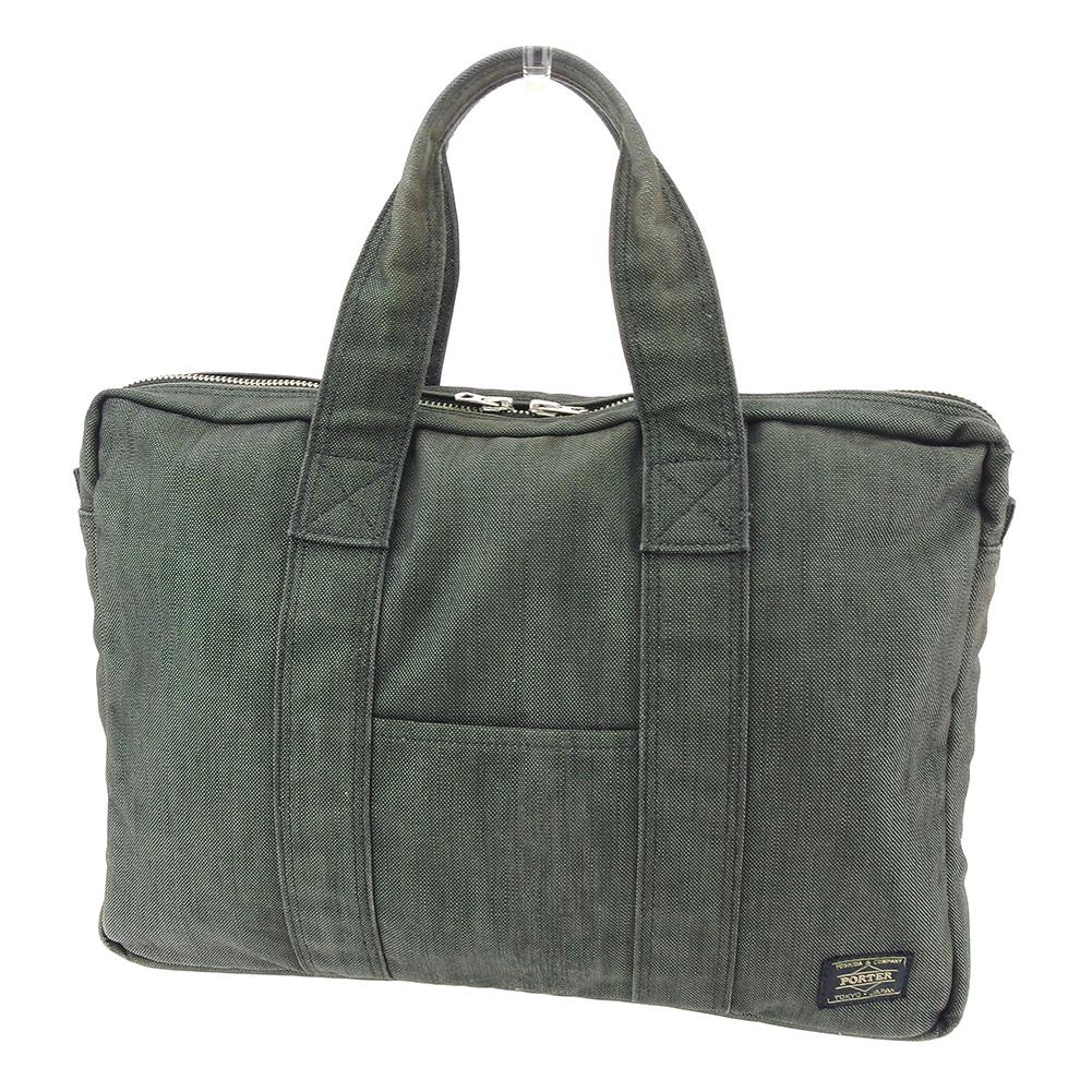 【中古】 ポーター PORTER ハンドバッグ PCバッグ ビジネスバッグ レディース メンズ 可 グレー 灰色 キャンバス 人気 セール C3231