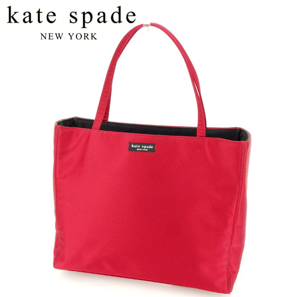 【中古】 ケイト スペード kate spade トートバッグ トート ハンドバッグ レディース ロゴ レッド ブラック キャンバス 人気 セール C3371