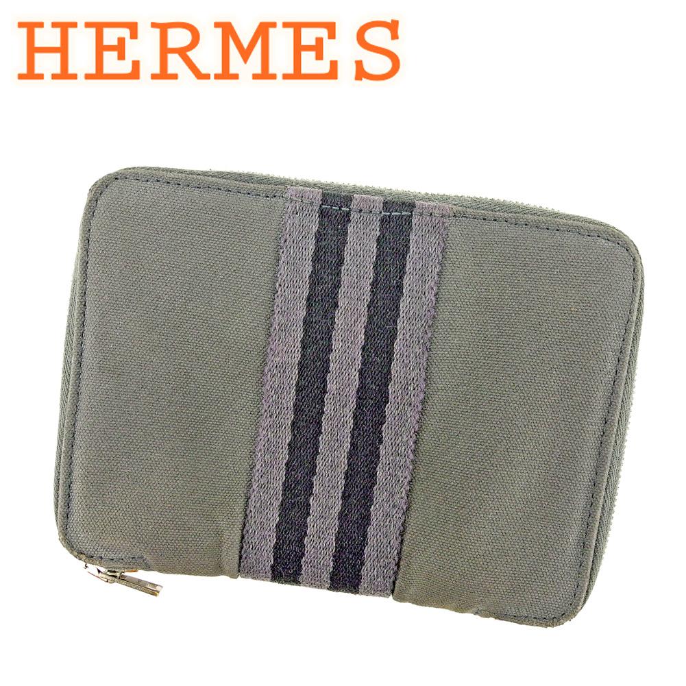 【中古】 エルメス HERMES 二つ折り財布 ラウンドファスナー レディース パースPM エールライン ブラック グレー 灰色 綿100% 人気 セール P731