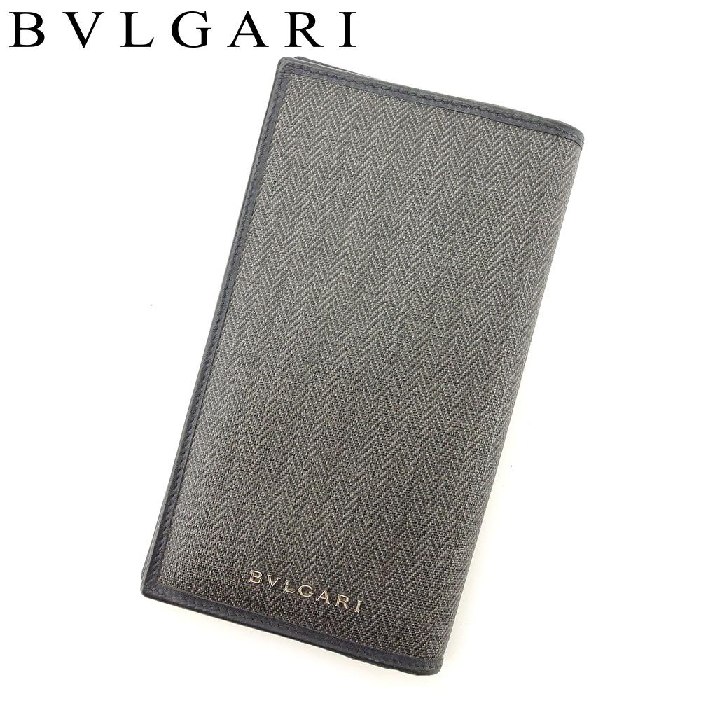 【中古】 ブルガリ BVLGARI 長財布 ファスナー付き 長財布 メンズ ブラック ベージュ PVC×レザー 人気 良品 T7671 .