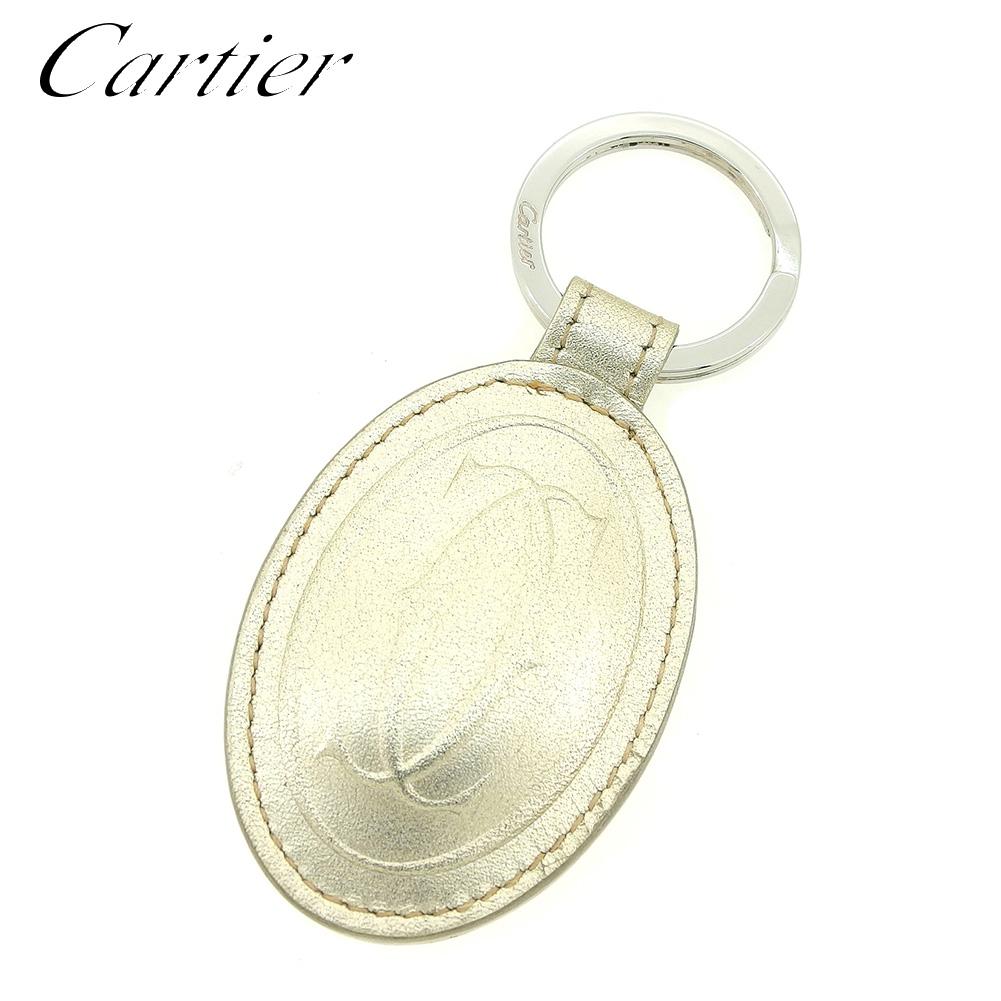 【中古】 カルティエ Cartier キーホルダー キーリング レディース メンズ 可 マストライン シルバー レザー 美品 セール T7675 .
